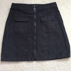 Black suede zip front skirt